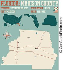 Map of Madison County in Florida - Large and detailed map of...