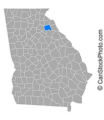 Map of Madison in Georgia