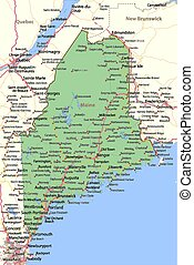 Maine - Map of Maine. Shows state borders, urban areas, ...