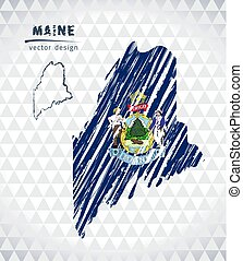 Map of Maine with hand drawn sketch pen map inside. Vector illustration