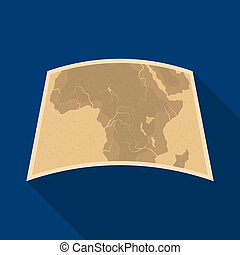 Map of mainland Africa.African safari single icon in flat style raster, bitmap symbol stock illustration web.