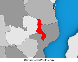Map of Malawi - Malawi in red on political map. 3D...