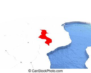 Map of Malawi on globe