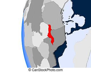 Map of Malawi on political globe