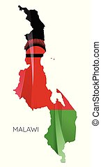 Map of Malawi with an official flag. Illustration on white background