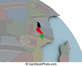 Map of Malawi with flag - Illustration of Malawi on...