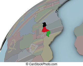 Map of Malawi with flag - Malawi on political globe with...