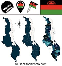 Map of Malawi with Named Districts - Vector map of Malawi...