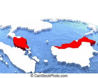 Map of Malaysia on globe