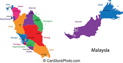 Map of Malaysia with the states colored in bright colors