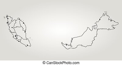 Outline of malaysia map map of malaysia vector illustration world map gumiabroncs Choice Image