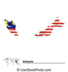 Map of Malaysia with flag