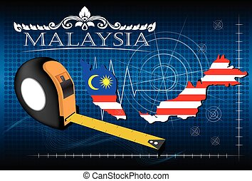 Map of Malaysia with ruler, vector.