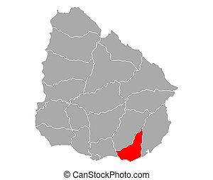 Map of Maldonado in Uruguay