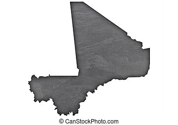 Map of Mali on dark slate