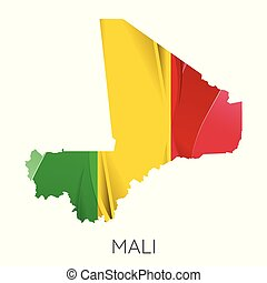 Map of Mali with an official flag. Illustration on white background