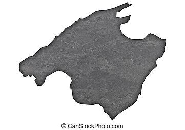 Map of Mallorca on dark slate