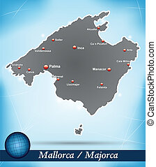 Map of mallorca with abstract background in blue