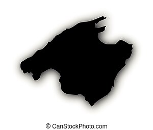 Map of Mallorca with shadow