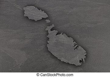 Map of Malta on dark slate