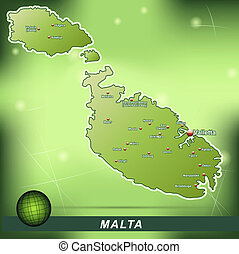 Map of Malta with abstract background in green