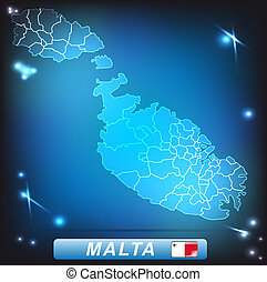 Map of Malta with borders with bright colors