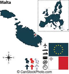 Map of Malta with European Union - Vector set of Malta...