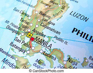 Manila Philippines World Map.Manila City Map Philippines On Atlas World Map