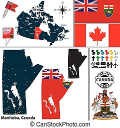 Map of Manitoba, Canada - Vector map of state Manitoba with...