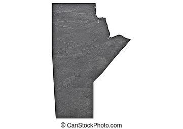 Map of Manitoba on dark slate