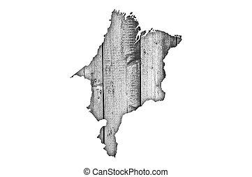 Map of Maranhao on weathered wood