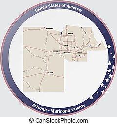 Map of Maricopa County in Arizona