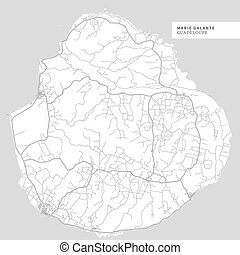 Map of Marie Galante Island,?Guadeloupe, contains geography outlines for land mass, water, major roads and minor roads.
