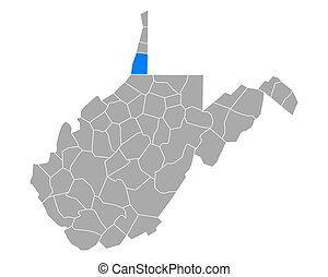 Map of Marshall in West Virginia