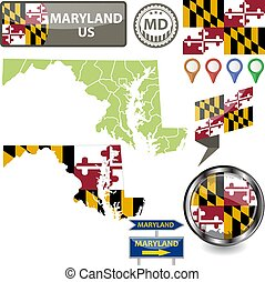 Map of Maryland, US