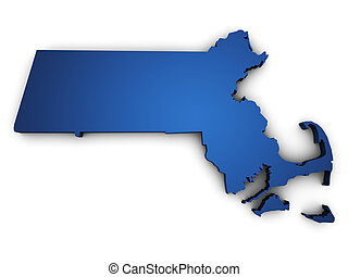 Shape 3d of Massachusetts map colored in blue and isolated on white background.