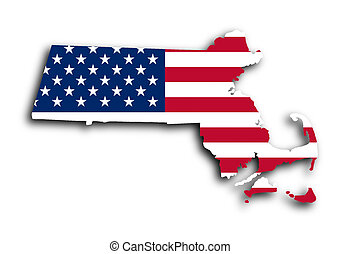 Map of Massachusetts filled with the national flag