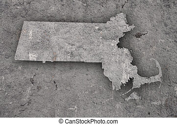 Map of Massachusetts on weathered concrete