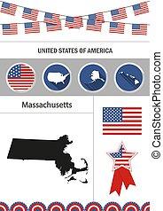 Map of Massachusetts. Set of flat design icons nfographics eleme