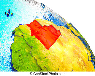 Map of Mauritania on 3D Earth