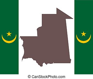 Map of Mauritania on background with flag