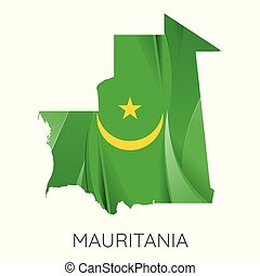 Map of Mauritania with an official flag. Illustration on white background