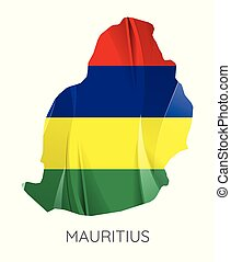 Map of Mauritius with an official flag. Illustration on white background