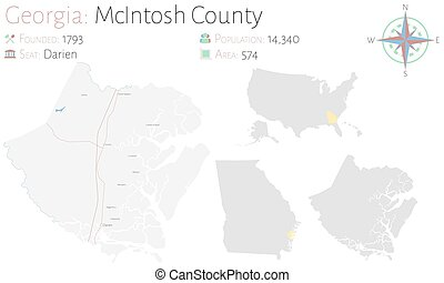 Large and detailed map of McIntosh county in Georgia, USA.