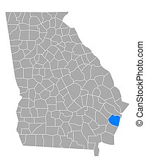Map of McIntosh in Georgia