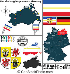 Map of Mecklenburg-Vorpommern, Germany - Vector map of state...