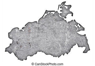 Map of Mecklenburg-Vorpommern on weathered concrete