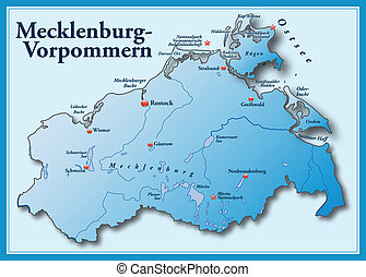 Map of Mecklenburg-Western Pomerania as an overview map in ...