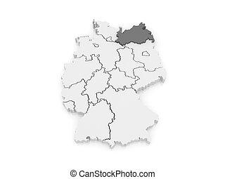 Map of Mecklenburg-Western Pomerania. Germany. 3d
