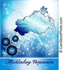 Map of Mecklenburg-Western Pomerania in Christmas Design in ...
